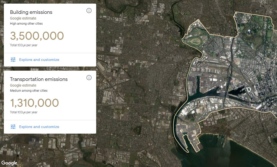 Google's Environmental Insights (beta) showing insights on Melbourne
